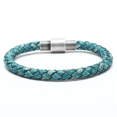 Braided Leather Bracelet Men Handmade Stainless Steel Clasp Buckle