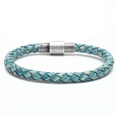 Image of Braided Leather Bracelet Men Handmade Stainless Steel Clasp Buckle