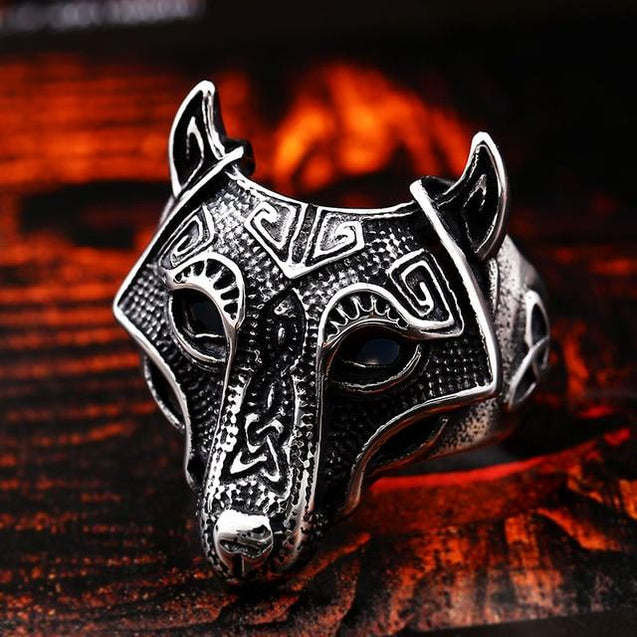 Mens Nordic Viking Wolf Ring