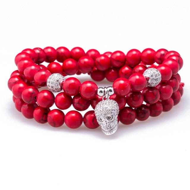 Red Marble Stone Skull Beaded Necklace