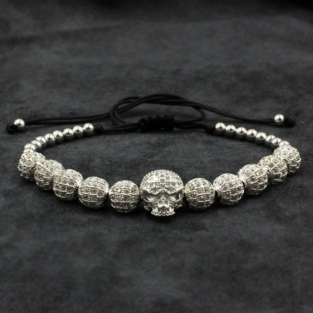 Beaded Macrame Bracelet With Skull Charm