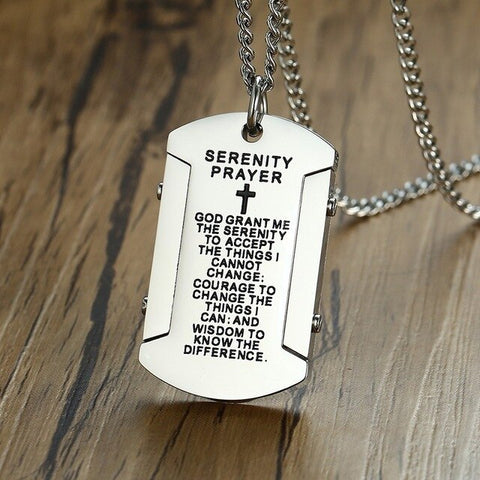 "Mens Dog Tag Necklace with ""God grant me the serenity"" Stainless Steel"