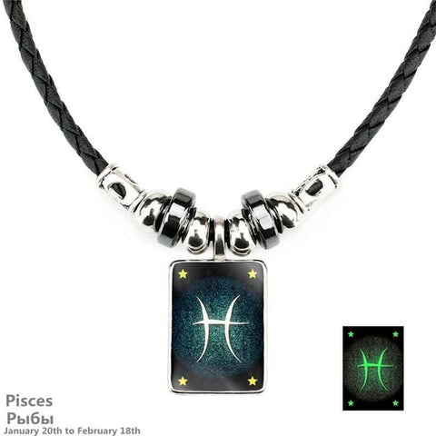 Zodiac Signs Constellation Luminous Leather Necklace Horoscope Necklace