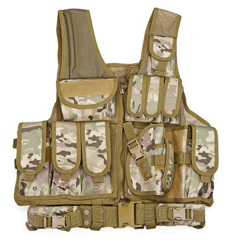 Image of Military Tactical Vest Paintball Camouflage Molle Hunting Vest With Holster