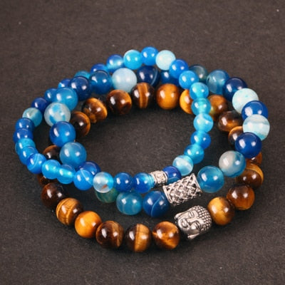 3 Set/PCS Buddha Tiger Eye and Blue Agate Beaded Bracelets