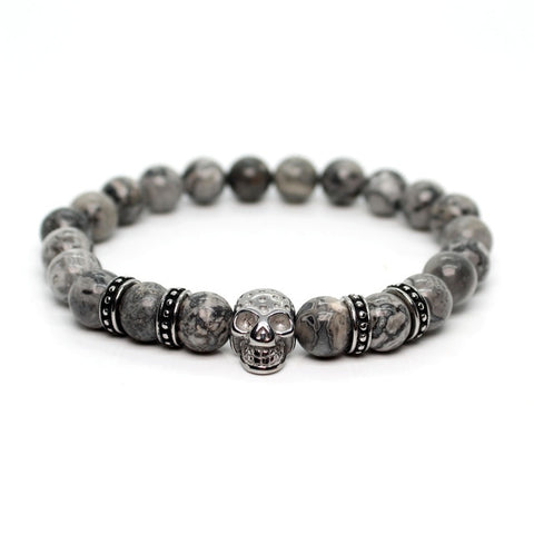 Skull Bracelet For Men With Stone Beads