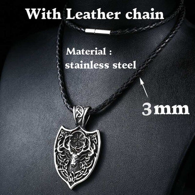 Viking Aegishjalmur Amulet Pendant Necklace Large Double Deer Sekira Viking Nordic Talisman Pendant Necklace