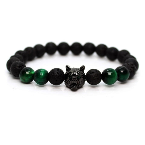 Image of Green Tiger Stone  Lava Stone Wolf Bracelet