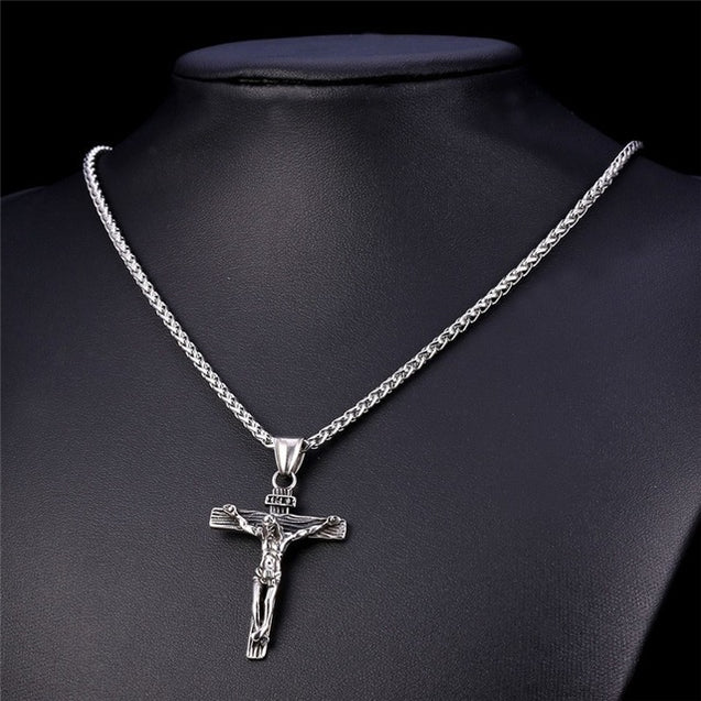 Stainless Steel Jesus Cross Necklace for Men Available in Gold and Silver Color