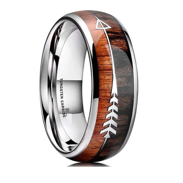 Natural Wood & Arrow Design Tungsten Ring For Men's