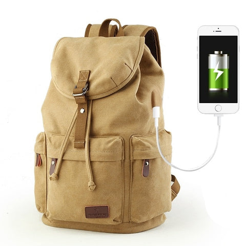 Image of 15.6 inch Laptop Backpack Casual Canvas Backpack  W/ USB Charging Port