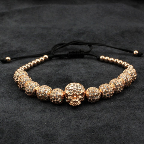 Image of Beaded Macrame Bracelet With Skull Charm