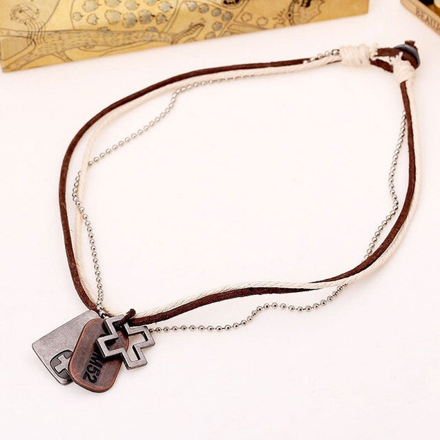 Mens Dog Tag Leather Pendant Necklace