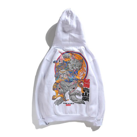 Image of Hip Hop Big Cat Print Hoodies Unisex