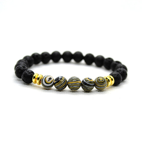 Image of Mens Blue Lava Stone Beaded Bracelet Men