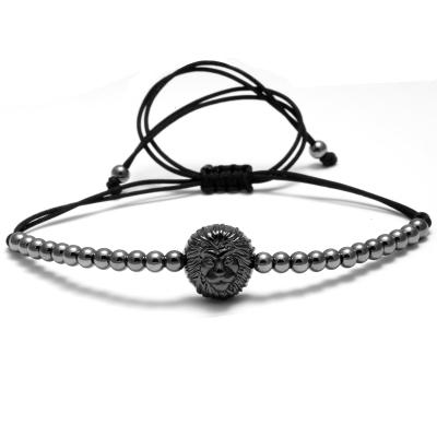 Lion Head Bracelet With Stainless steel Beads