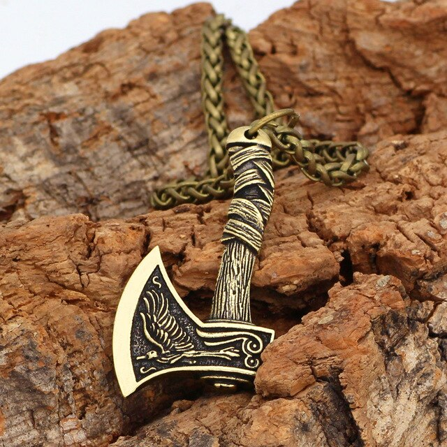 Mens Viking Axe Pendant Necklace Norse Mythology With Wolf Design