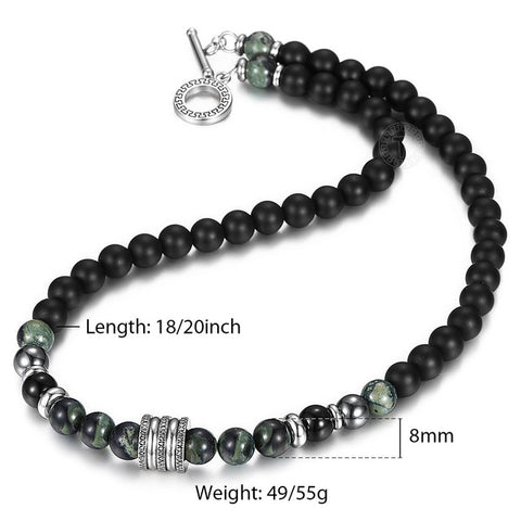 Image of Natural Tiger Eyes Stone Beaded Necklace for Mens