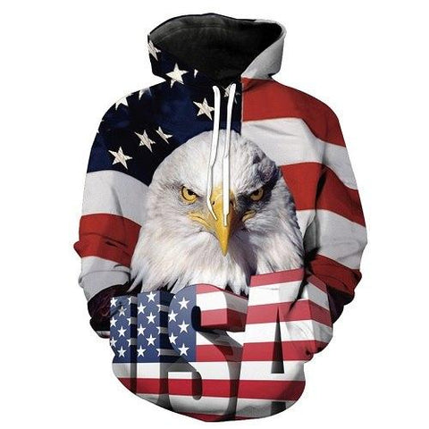 Image of 3D Eagle USA Flag Hoodie