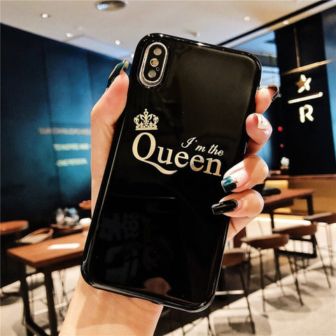 Glossy King And Queen Matching iPhone Cases