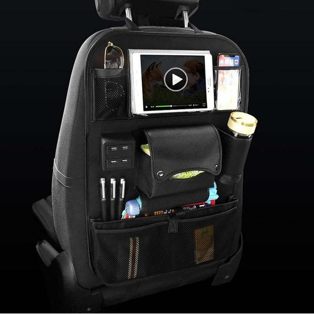Car Back Seat Organizer With USB Charging Port