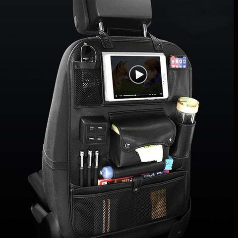Image of Car Back Seat Organizer With USB Charging Port