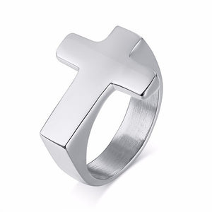 Men Flat Top Cross Ring