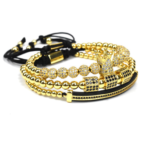 Image of Luxury Royal Crown Beaded Bracelet Set