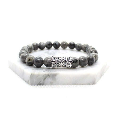 Image of Mens Black Beaded Bracelet With Silver Charm