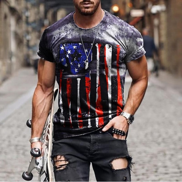 Men National Flag Pattern T-Shirts