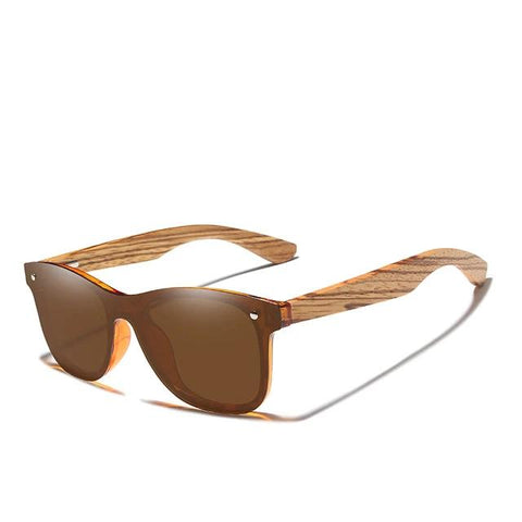 Image of mens wooden sunglasses brown lense