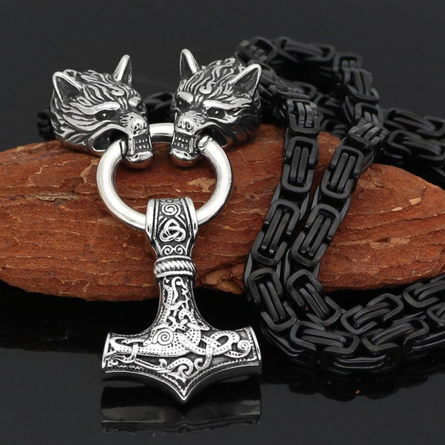 Men stainless steel Wolf head norse viking amulet thor hammer pendant necklace viking