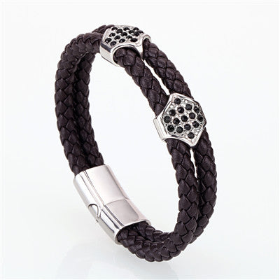 Image of Mens Leather Bracelet Multilayer Braided Bracelet