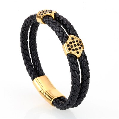 Mens Leather Bracelet Multilayer Braided Bracelet