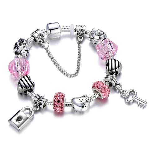 Ladies Crystal Heart Charm Bracelet [19 Variant]