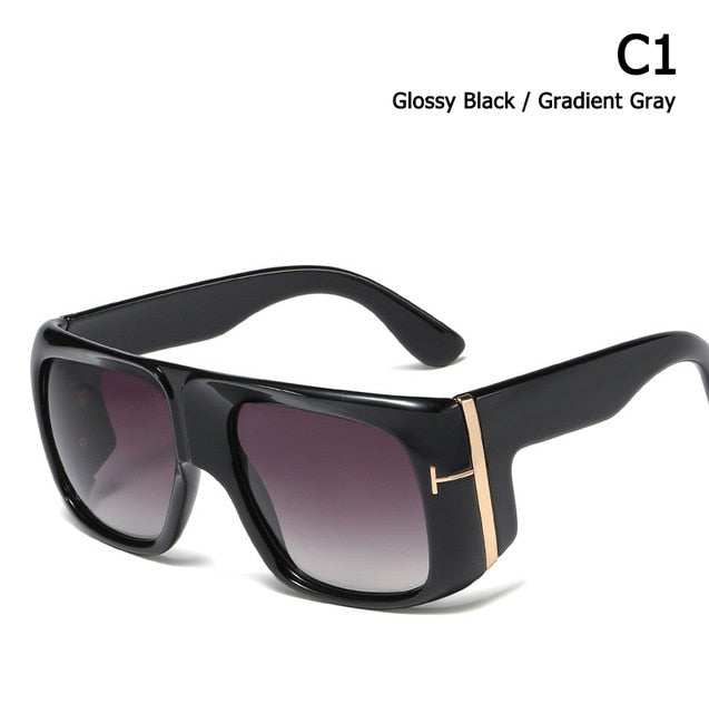 Oversized Shield Style Gradient Sunglasses