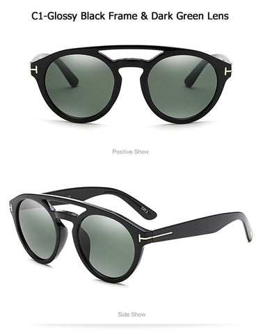 Image of Clint Style Round Frame Vintage Sunglasses
