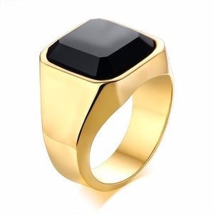 Dignified Black Carnelian Signet Ring for Men