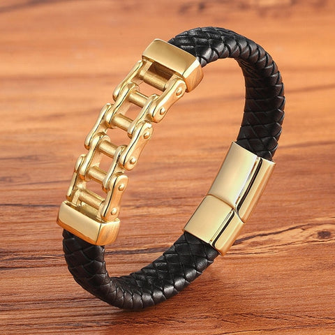 Image of Men's Leather Bracelet With Steel Bike Chain Charm