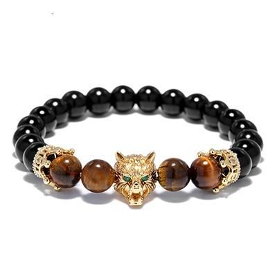 Image of Wolf Head Mens Beaded Bracelet