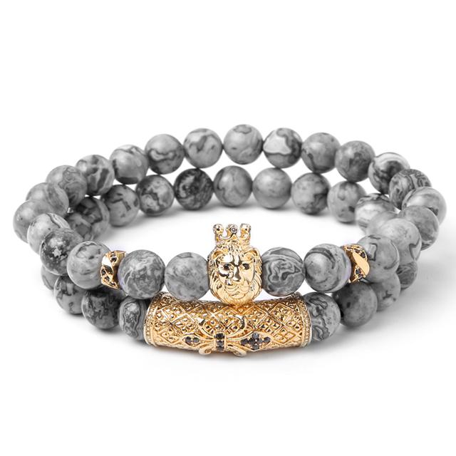 lion head mens beaded bracelet