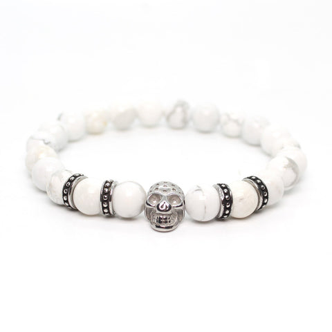 Image of Skull Bracelet For Men With Stone Beads