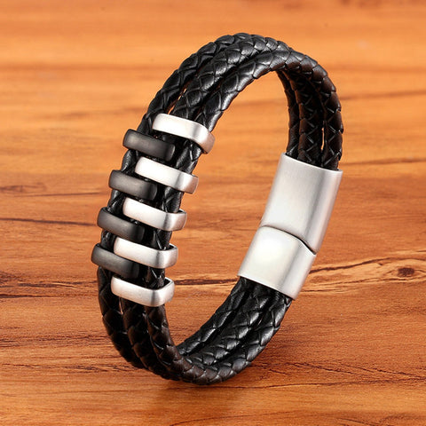 Image of Multi Layer Black & Gold Steel Genuine Leather Bracelet