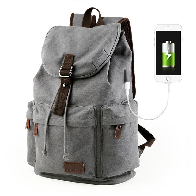 15.6 inch Laptop Backpack Casual Canvas Backpack  W/ USB Charging Port