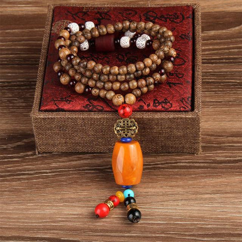 Image of Buddhist Mala Wood Beads Necklaces