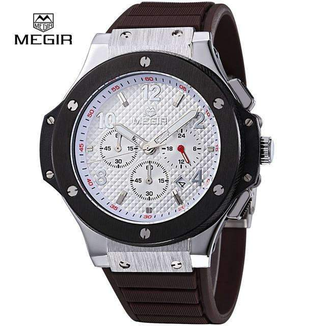 Megir Mens Chronograph Military Sport Silicone Watch [ 8 Variation ]