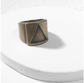 Geometric Triangle Stainless Steel Mens Ring