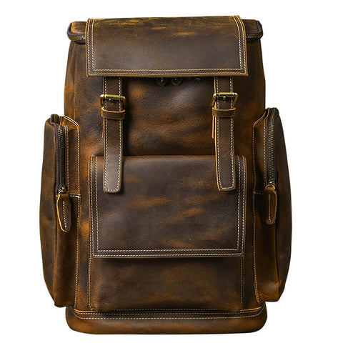 Men's Genuine Leather Backpack Large Capacity Retro  Laptop Backpack