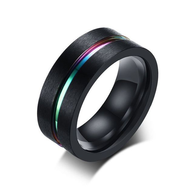 Black Stainless Steel Ring for Men With Rainbow Line