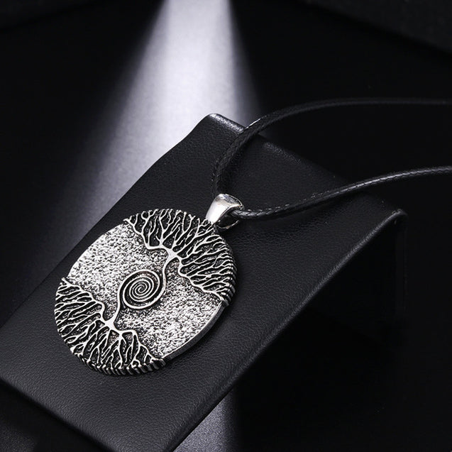 Vikings Amulet Tree of Life Round Silver Color Big Pendant Necklace
